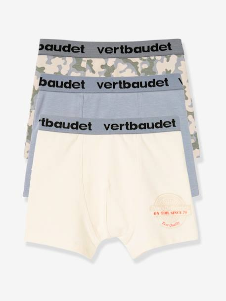 Lot de 3 boxers stretch garçon Blanc/multicolore+Bleu moyen/multicolore 6 - vertbaudet enfant