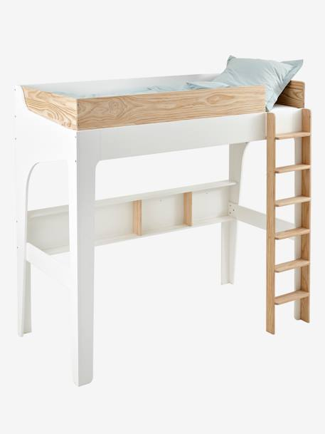 Lit Mezzanine Avec Etageres Pour Combine Easyspace Blanc Bois