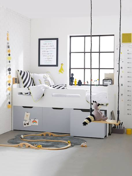 combin lit enfant avec rangements ligne passe passe blanc gris vertbaudet. Black Bedroom Furniture Sets. Home Design Ideas