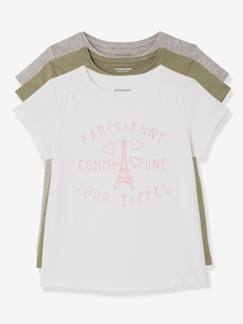 Outlet-Lot de 3 T-shirts manches courtes fille