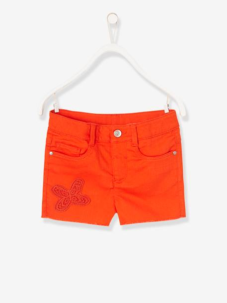 Short fille brodé Aqua+Blanc+ORANGE+Rose blush 10 - vertbaudet enfant