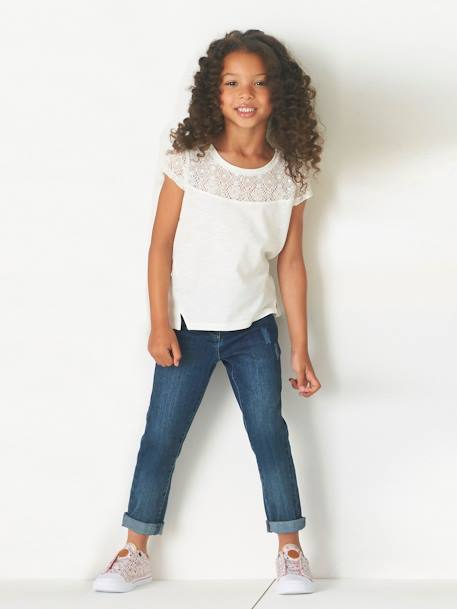 Jean droit fille tour de hanches LARGE Denim bleached+Stone 7 - vertbaudet enfant