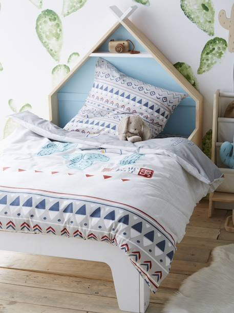 parure r versible housse de couette taie d 39 oreiller enfant utah park gris imprim vertbaudet. Black Bedroom Furniture Sets. Home Design Ideas