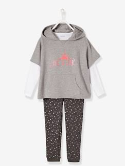 Fille-Pantalon-Ensemble fille sweat + T-shirt + pantalon