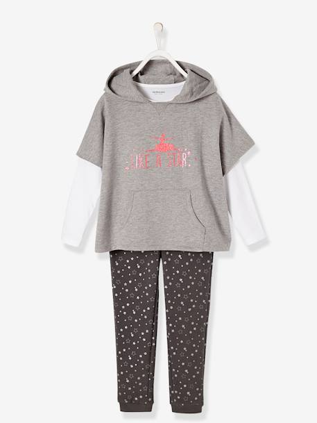 Ensemble fille sweat + T-shirt + pantalon Gris chiné+Rose pâle 1 - vertbaudet enfant