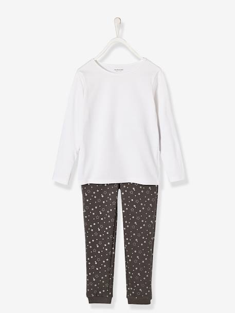 Ensemble fille sweat + T-shirt + pantalon Gris chiné 2 - vertbaudet enfant