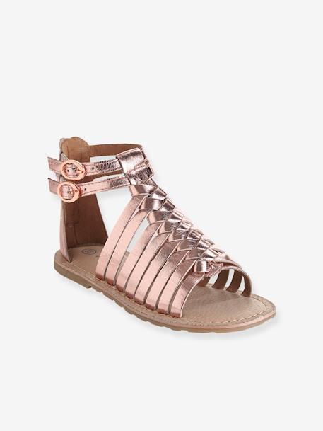énorme réduction 529f9 98d91 Sandales fille en cuir rose pâle métallisé - Vertbaudet