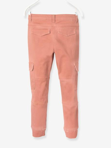 Pantalon slim battle fille Kaki+Rose blush 9 - vertbaudet enfant