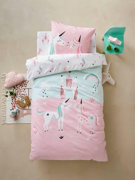 parure housse de couette taie d 39 oreiller fille licornes magiques bleu clair vertbaudet. Black Bedroom Furniture Sets. Home Design Ideas