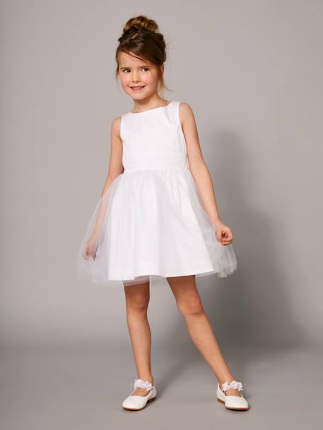 461277bf1234a Robe de cérémonie fille en satin et tulle BLANC+ORANGE+ROSE CLAIR 1 -