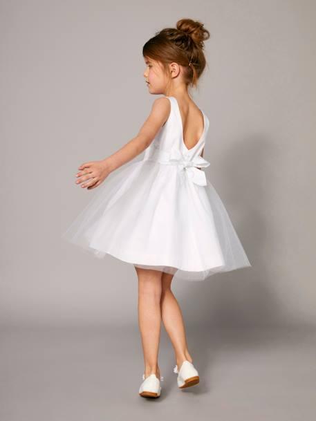 9fb1e58918c7b Robe de cérémonie fille en satin et tulle BLANC+ORANGE+ROSE CLAIR 4 -