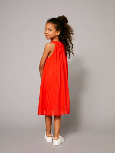 Robe longue fille encolure bijoux Orange vif 6 - vertbaudet enfant