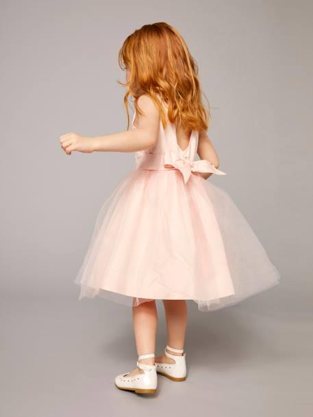 f66872492a92f Robe de cérémonie fille en satin et tulle BLANC+ORANGE+ROSE CLAIR 15 -