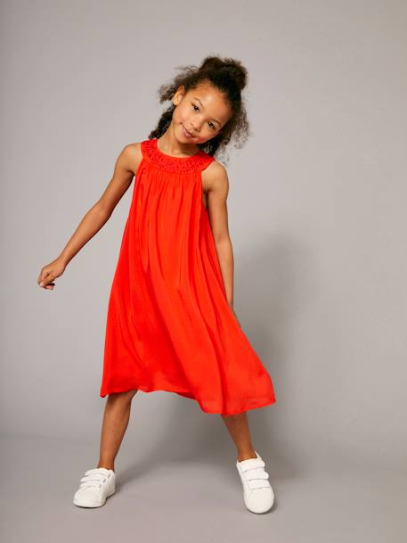 Robe longue fille encolure bijoux Orange vif 7 - vertbaudet enfant