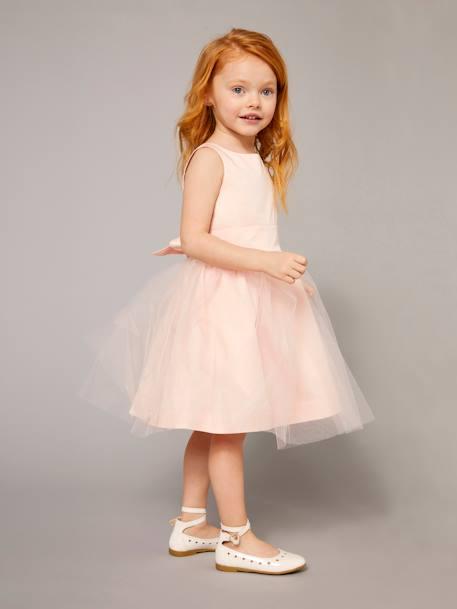773900ce3ac85 Robe de cérémonie fille en satin et tulle BLANC+ORANGE+ROSE CLAIR 12 -
