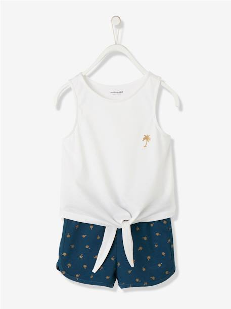 Ensemble fille débardeur + short BLEU MARINE+ROSE FUSCHIA+ROSE PALE 1 - vertbaudet enfant