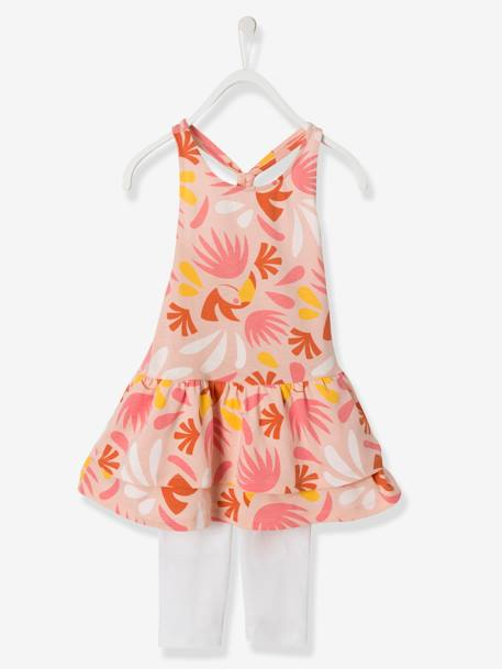 Ensemble fille robe + legging Bleu rayé+Orange vif imprimé+Rose imprimé 7 - vertbaudet enfant