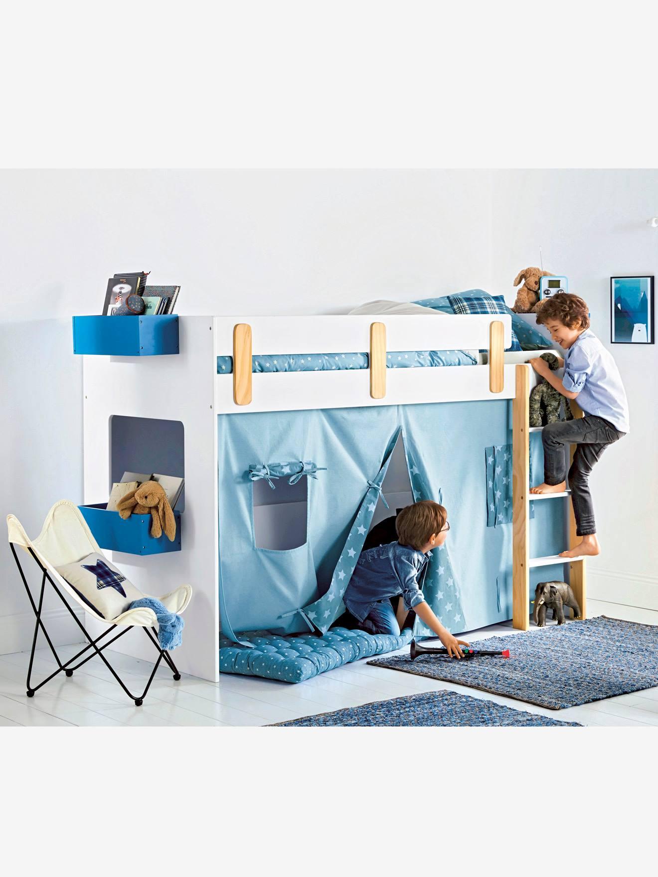 Tente pour lit mezzanine mi-hauteur LIGNE EVEREST bleu/imprimé - Vertbaudet