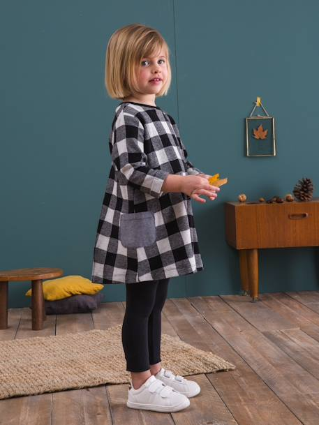 Ensemble fille robe + legging Carreaux noir+Gris chiné imprimé+Rose 1 - vertbaudet enfant