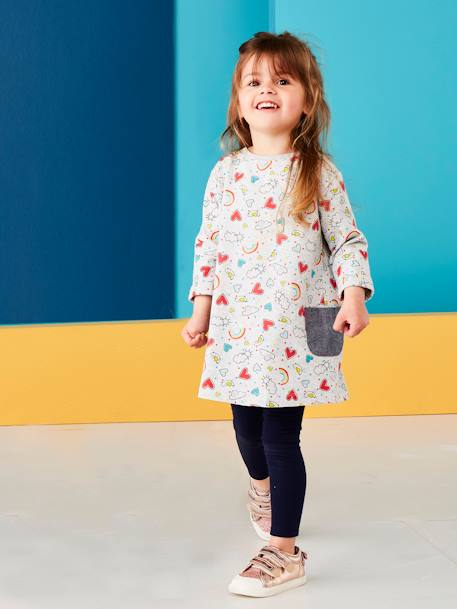 Ensemble fille robe + legging Carreaux noir+Gris chiné imprimé+Rose 5 - vertbaudet enfant