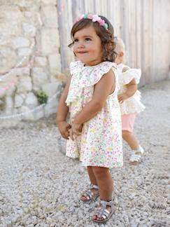 Collection été-Bébé-Robe bébé fille en satin de coton imprimé