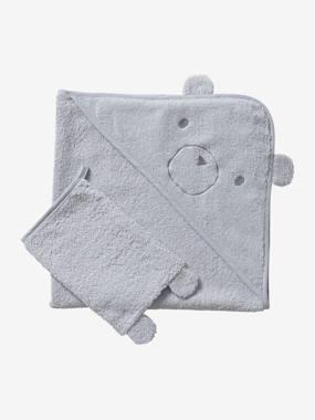 Cape de bain + gant coton bio gris clair