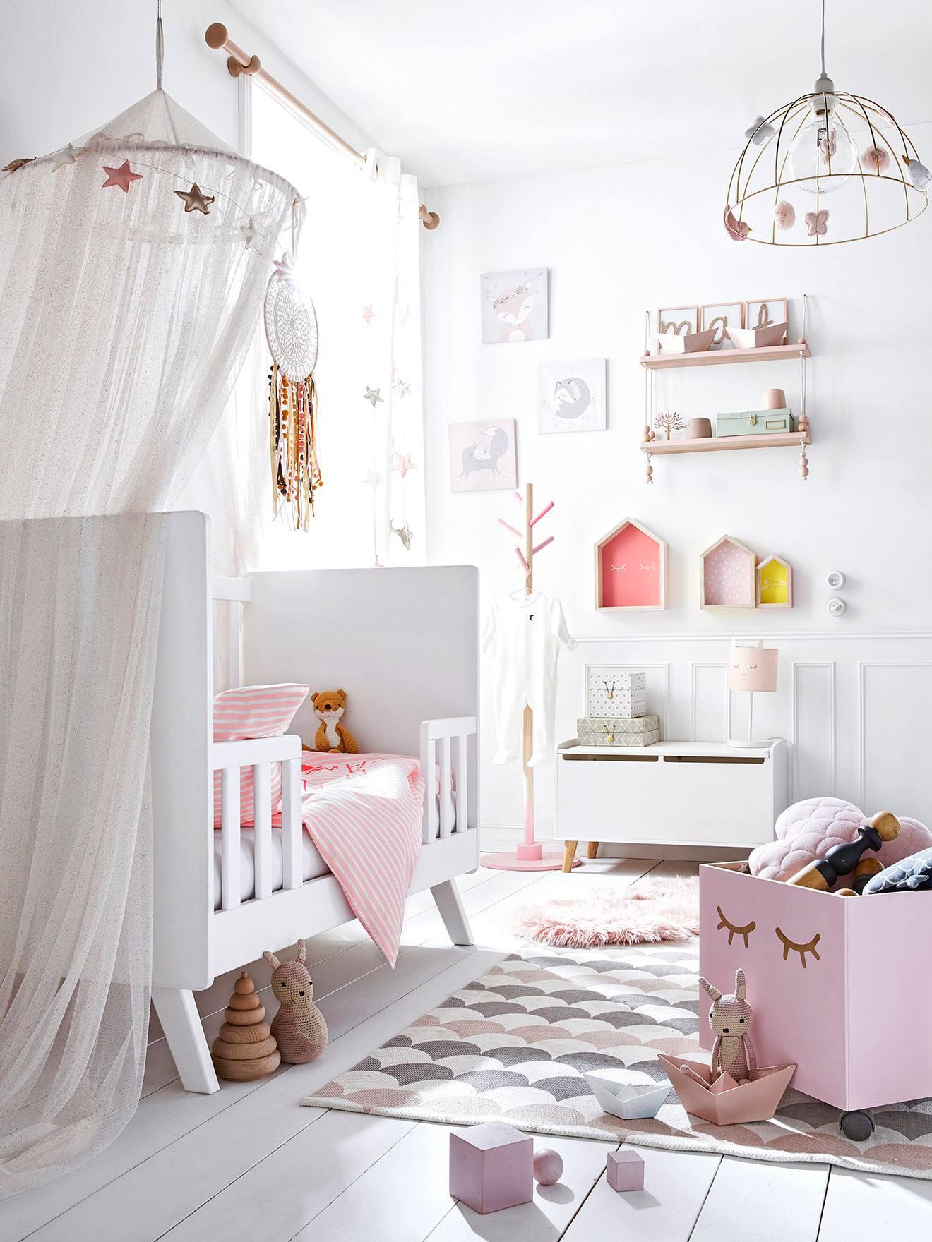 Ciel de lit Paillettes rose poudré - Vertbaudet