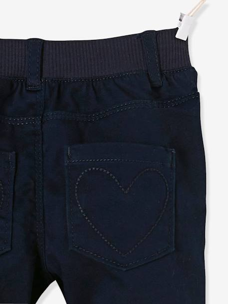 Pantalon slim fille tour de hanches LARGE Marine+Rose pâle 5 - vertbaudet enfant