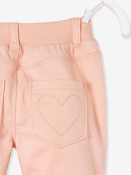 Pantalon slim fille tour de hanches LARGE Marine+Rose pâle 10 - vertbaudet enfant