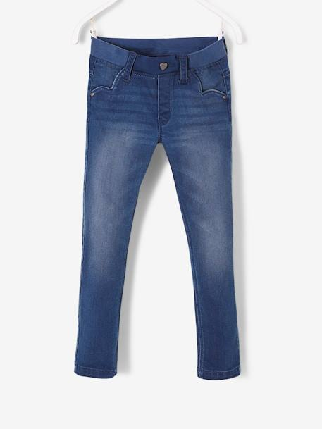 Pantalon slim fille en denim tour de hanches LARGE STONE 1 - vertbaudet enfant