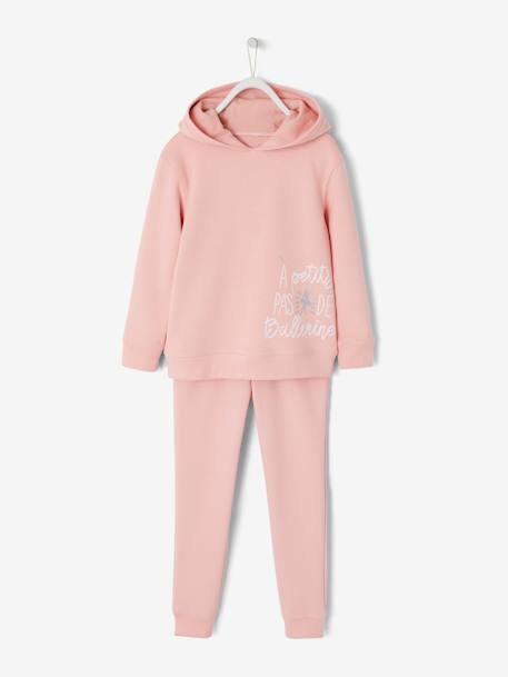 Ensemble fille sweat à capuche et pantalon jogging FRAMBOISE+GRIS FONCE+ROSE PALE 8 - vertbaudet enfant