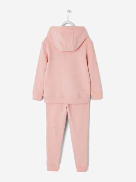 Ensemble fille sweat à capuche et pantalon jogging FRAMBOISE+GRIS FONCE+ROSE PALE 10 - vertbaudet enfant