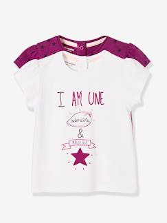 Bébé-T-shirt, sous-pull-Lot de 2 T-shirts bébé fille motif adorable