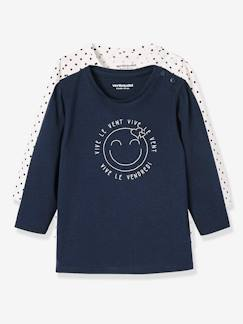 Prix Malice-Lot de 2 T-shirts message bébé fille