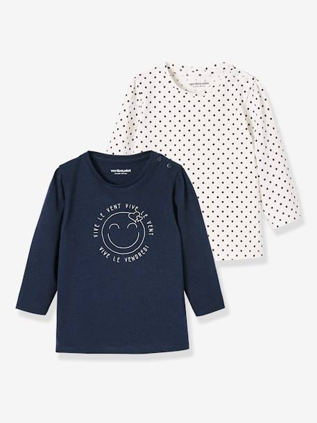 Lot de 2 T-shirts message bébé fille LOT BLANC+LOT FUCHSIA+LOT MARINE GRISE+LOT ROSE PALE 14 - vertbaudet enfant