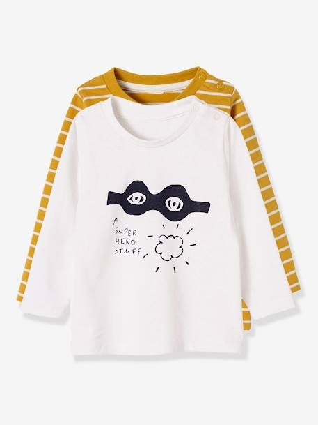 Lot de 2 T-shirts bébé garçon manches longues LOT CARAMEL+Lot jaune moutarde+LOT MARINE GRISE+Lot Rouge 6 - vertbaudet enfant