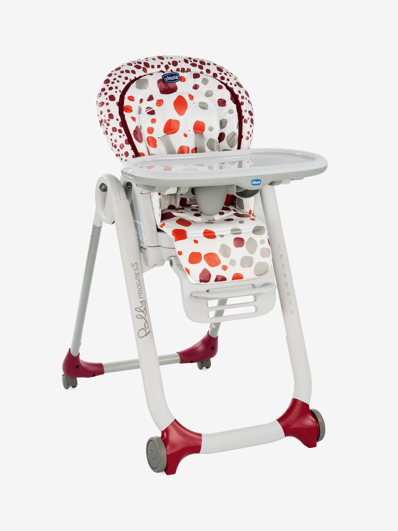 Chaise haute évolutive CHICCO Polly Progres5 imprimé rouge Chicco