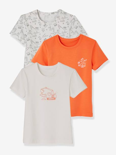 Lot de 3 T-shirts stretch garçon manches courtes LOT BLANC ORANGE 5 - vertbaudet enfant