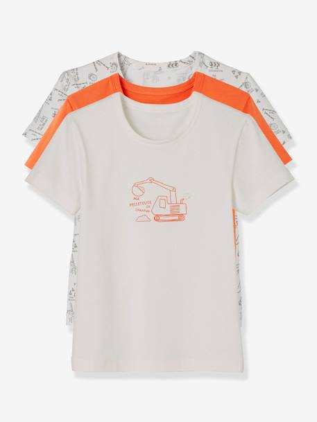 Lot de 3 T-shirts stretch garçon manches courtes LOT BLANC ORANGE 1 - vertbaudet enfant