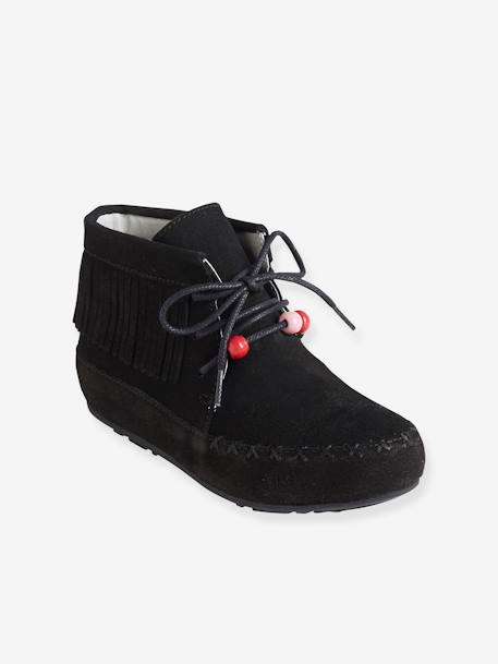 Bottines cuir fille broderies et franges CAMEL+Marron+NOIR 12 - vertbaudet enfant