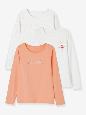 Lot de 3 T-shirts stretch fille manches longues orange