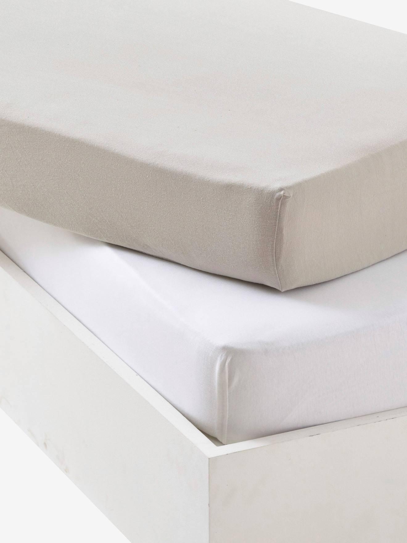 lot de 2 draps housses b b pur coton gris vertbaudet. Black Bedroom Furniture Sets. Home Design Ideas