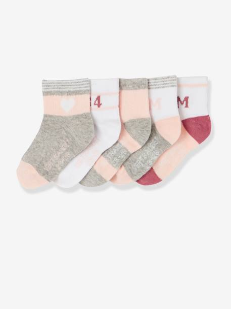 Lot de 5 paires de chaussettes sport fille LOT ROSE PALE 1 - vertbaudet enfant