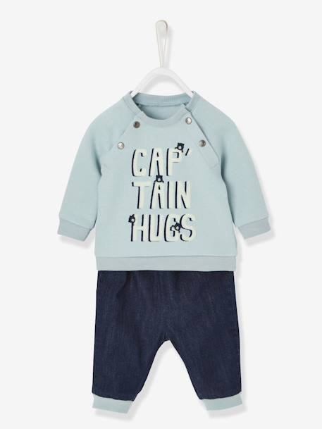 Ensemble bébé sweat et jean captain hugs Bleu/denim 1 - vertbaudet enfant