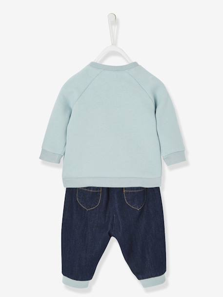 Ensemble bébé sweat et jean captain hugs Bleu/denim 3 - vertbaudet enfant