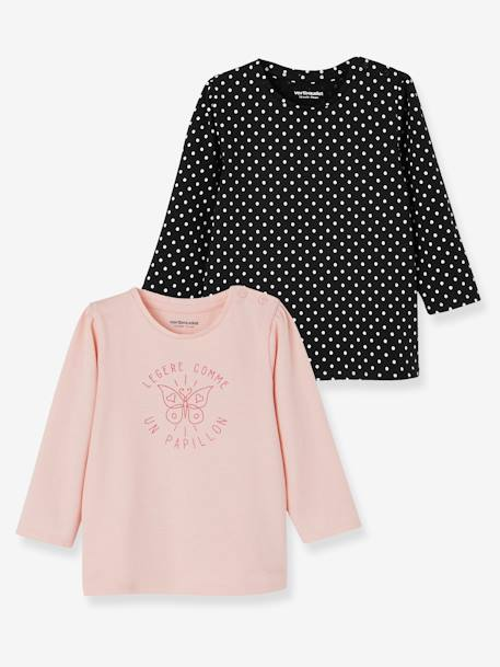 Lot de 2 T-shirts message bébé fille LOT BLANC+LOT FUCHSIA+LOT MARINE GRISE+LOT ROSE PALE 21 - vertbaudet enfant