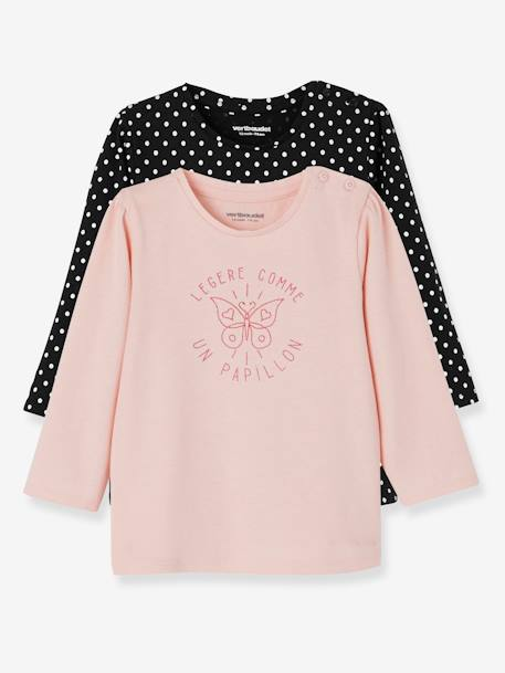Lot de 2 T-shirts message bébé fille LOT BLANC+LOT FUCHSIA+LOT MARINE GRISE+LOT ROSE PALE 18 - vertbaudet enfant
