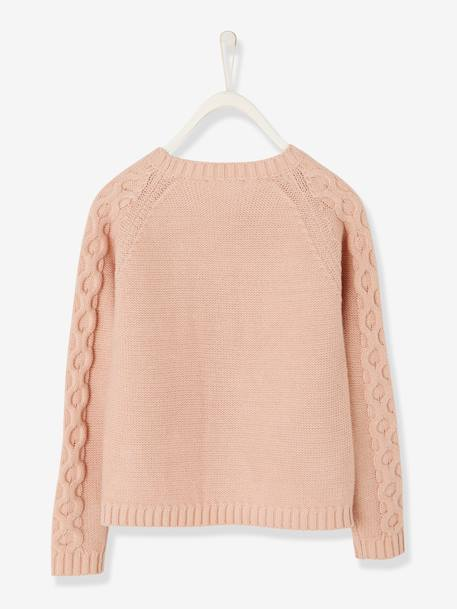 Pull fille à torsades Orange+Rose 5 - vertbaudet enfant