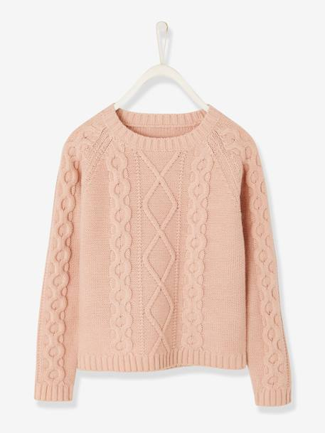 Pull fille à torsades Orange+Rose 4 - vertbaudet enfant