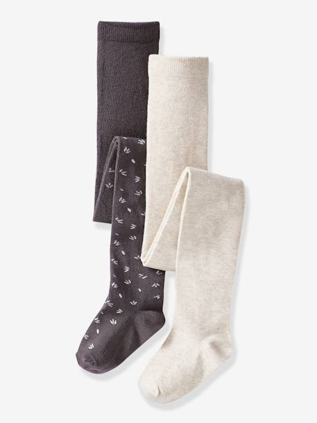 Lot de 2 collants fantaisie fille LOT ANTHRACITE 1 - vertbaudet enfant